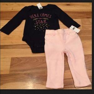 GAP Matching Sets - Baby Gap Girls Star Shirt & Pink Velour Pant
